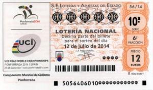 Décimo Lotería Nacional del sorteo 56/2014
