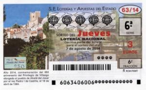 Décimo Lotería Nacional del sorteo 63/2014