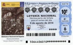 Décimo Lotería Nacional del sorteo 64/2014