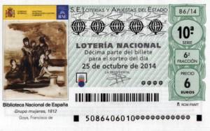 Décimo Lotería Nacional del sorteo 86/2014