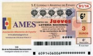 Décimo Lotería Nacional del sorteo 91/2014