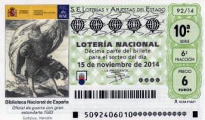 Décimo Lotería Nacional del sorteo 92/2014