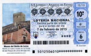 Décimo Lotería Nacional del sorteo 10/2015