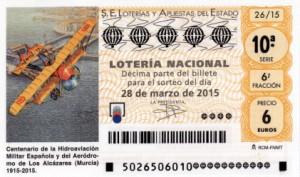 Décimo Lotería Nacional del sorteo 24/2015