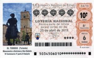 Décimo Lotería Nacional del sorteo 34/2015