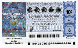 Décimo Lotería Nacional del sorteo 42/2015