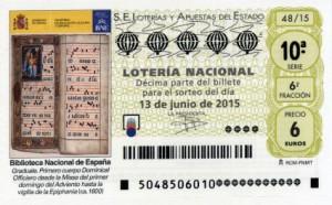 Décimo Lotería Nacional sorteo 48/2015