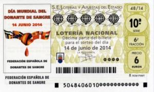 Décimo Lotería Nacional del sorteo 48/2014