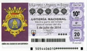Décimo Lotería Nacional del sorteo 54/2014