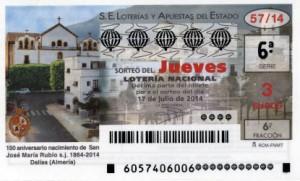 Décimo Lotería Nacional del sorteo 57/2014