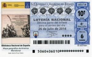 Décimo Lotería Nacional del sorteo 60/2014
