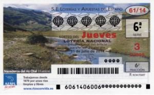 Décimo Lotería Nacional del sorteo 61/2014