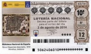 Décimo Lotería Nacional del sorteo 62/2014