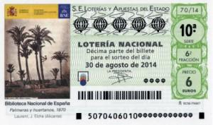 Décimo Lotería Nacional del sorteo 70/2014