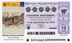 Décimo Lotería Nacional del sorteo 72/2014