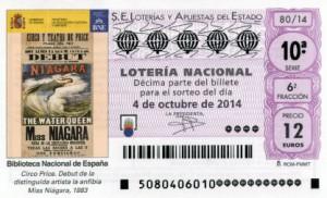 Décimo Lotería Nacional del sorteo 80/2014