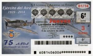 Décimo Lotería Nacional del sorteo 81/2014