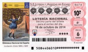Décimo Lotería Nacional del sorteo 84/2014