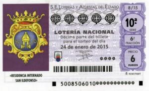 Décimo Lotería Nacional del sorteo 4/2015