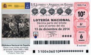 Décimo Lotería Nacional del sorteo 100/2014