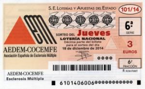 Décimo Lotería Nacional del sorteo 101/2014