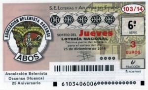 Décimo Lotería Nacional del sorteo 103/2014