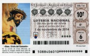 Décimo Lotería Nacional del sorteo 88/2014