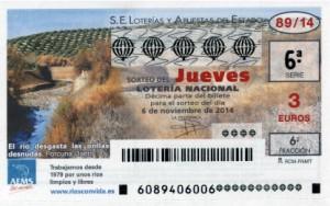Décimo Lotería Nacional del sorteo 89/2014