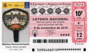 Décimo Lotería Nacional del sorteo 90/2014