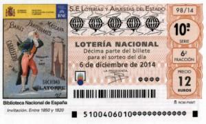 Décimo Lotería Nacional del sorteo 98/2014