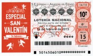 Décimo Lotería Nacional del sorteo 14/2015