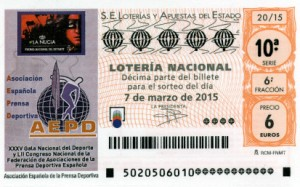 Décimo Lotería Nacional del sorteo 20/2015