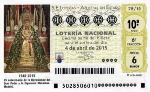 Décimo Lotería Nacional del sorteo 28/2015