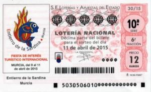Décimo Lotería Nacional del sorteo 30/2015