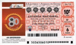 Décimo Lotería Nacional del sorteo 36/2015