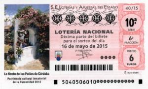 Décimo Lotería Nacional del sorteo 40/2015