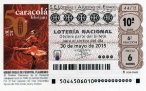 Décimo Lotería Nacional del sorteo 44/2015