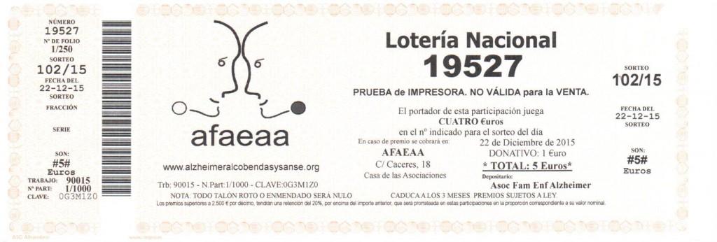 Asociacion de familiares de enfermos de Alzheimer de Alcobendas y San Sebsatian de los Reyes. Navidad 2015 papeleta