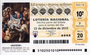 Imagen décimo Lotería Navidad 2015