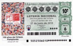 Décimo Lotería Nacional sorteo 52/2015